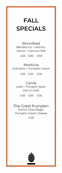 Fall Specialty Menu
